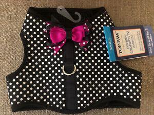 Top Paw Black White Polka Dot Hot Pink Bows Soft Dog Vest Harness S