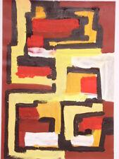 Tableau Abstrait acrylique sur papier 29 cm x 42cm - village du Haut Atlas