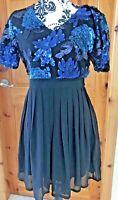 BOOHOO Size 10 - 12 Black Dress Fit & Flare Catherine Blue Sequin Skater Skater