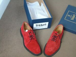 Trickers Robert Suede Bright Red Suede Goodyear Welted  size 8.5  width fit 5