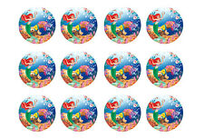 """LITTLE MERMAID CUPCAKE TOPPERS 12x2"""" CIRCLES EDIBLE ICING PARTY DECORATION IMAGE"""