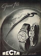 1950's Old Vintage 1953 Recta Grand Prix Chronometer & Ladies Watch Art Print AD