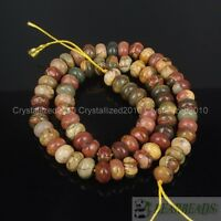Natural Picasso Jasper Gemstone Rondelle Spacer Loose Beads 2mm 4mm 5mm 8mm 15""