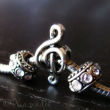 Music Clef Note Large Hole Charm + Birthstone Beads For European Charm Bracelets