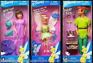 "Return to Never Land Jane Doll Peter Pan Tinkerbell Disney Lot 3 Full Set """