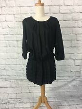 Country Road Size S Black 100% Viscose 3/4 Sleeve Pleated Dress