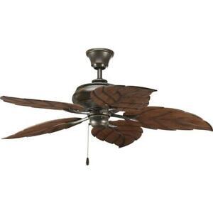 """Progress Lighting AirPro 52"""" Indoor or Outdoor Antique Bronze Rustic Ceiling Fan"""