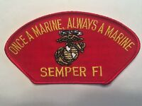 """Once a Marine Always a Marine Semper Fi Red Hat Patch 5-1/4"""" Embroidered"""