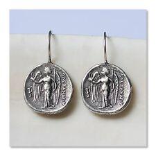 Sterling Silver Artisanal Byzantine Angel Coin Drop Earrings Jewelry