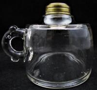 Antique Oil Kerosene Flat Bedside Hand Lamp Heavy Thick Bubbled Glass Drip Guard