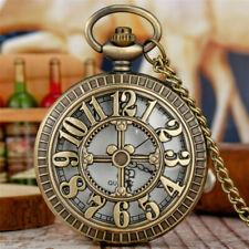 Steampunk Hollow Number Antique Style Quartz Pocket Watch Necklace Chain Gift
