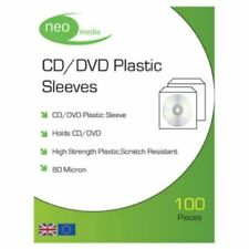 1000 NEO High Quality 80 Micron clear plastic CD DVD sleeves Side STITCH 10 pack