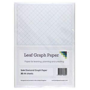 A4 Diamond Graph Paper 10mm 1cm, 30 Loose-Leaf Sheets, Grey Grid Lines