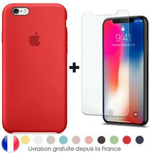 Coque Housse Silicone iPhone 6 7 8 Xr Xs MAX X 11 Pro + Vitre Film Verre trempé
