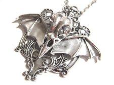 BIRD SKULL BAT WINGS PENDANT gothic rococo cameo bezel macabre necklace crow 5V