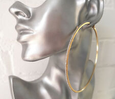 "Stunning HUGE GOLD TONE thin square tube BIG glitter edge hoop earrings 4"" /10cm"