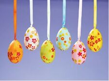 SET OF 6 Polka Dot & Floral  Easter Egg Ornaments New In Box BIG SALE