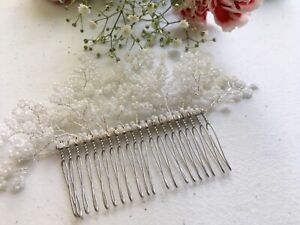 Wedding Pearl Beaded Hair Comb Bridal Veil Baby's Breath Hairpiece Gypsophila