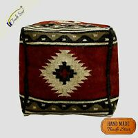 """Indian Kilim Cube Pouf Cover 18"""" Vintage Pouffe Case Hand Woven Footstool Cover"""