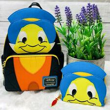 Disney LOUNGEFLY Jiminy Cricket Backpack Book Bag Matching Wallet L@@K