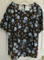 Vintage Apron brown and blue 1970s Tie at neck, kitchen apron or Artist's smock