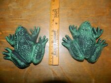 Lot of 2 Cast Iron Landscape Frogs Lawn Statue Flower Bed Garden Decor Yard Art