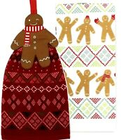 GINGERBREAD Christmas Kitchen Towels Tie Top 2-pack by St. Nicholas Square