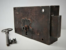 Ancienne Grosse Serrure en Fer Forgé et Clé,XIX,de Porte ou Portail,Lock Door