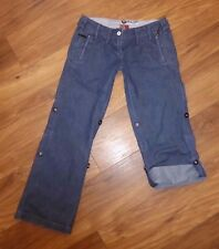 RIVER ISLAND  ROLL UP CARPENTER SLOUCH blue wide leg  jeans EU 36 UK 10 S L29