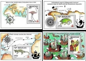 👉 BHUTAN 1987 COLUMBUS DISCOVERIES x4 S/S MNH SHIPS, MAPS, BIRDS, REPTILES