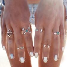 6Pcs/Lot Vintage Ethnic Bohemian Boho Rings Moon Turquoise Punk Women Jewelry