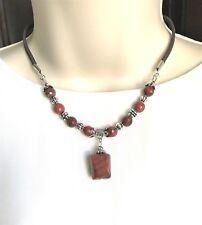 Natural Gemstone Red Jasper Pendant Beaded Necklace Fengshui Chakra USA