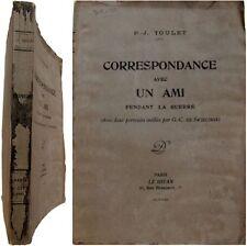 Correspondance avec un ami pendant la guerre 1922 Paul-Jean Toulet Swiecinski