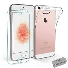Clear Soft Silicone TPU Gel Case Cover Free Tempered Glass Screen For iPhone