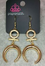 Paparazzi Majestically Moon Child Gold Colored Earrings Crescent Geometric