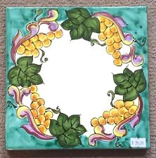 Vietri Pottery-8x8 Inch Tile Roman Grape.Made/Painted by hand in Italy