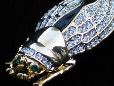 "GOLD RHINESTONE INSECT FLY LOCUST LOCUS CICADA BUG PIN BROOCH JEWELRY 3D 2.25"""