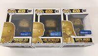 FUNKO POP STAR WARS GOLD Luke Skywalker #93 Darth Vader #157 Leia #287 LOT 3