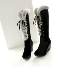 Women Fur Trim Knee High Boots Wedge High Heels Lace up Platform Snow Shoes Size