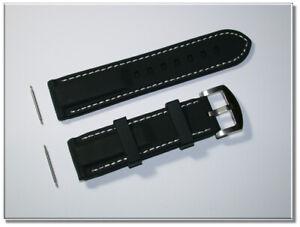 Sport Silikon Uhrenarmband schwarz, weisse Ziernaht 22mm Breit  9777