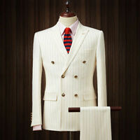 Men Ivory Double Breasted Striped Slim Fit Suit Groom Tuxedos Formal Dinner Suit