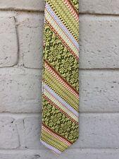 """Haband's Vintage Tie Green Beige Orange Striped L53"""" W3-3/4"""""""