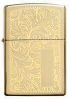 NEW ZIPPO Lighter, VENETIAN, High Polish Brass, GOLD Windproof, Regular