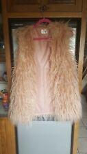 reallty faux fur shaggy long gilet waistcoat size s/m