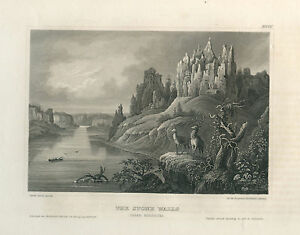 Antique Engraving – The Stone Walls, Upper Missouri (1856)
