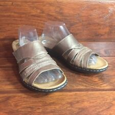 Clarks Collection Sandals Womens 11 Leisa Grove Bronze Leather Slides Comfort