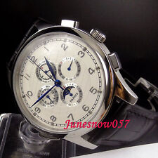 Parnis 44mm silver marks Moon Phase Multifunction Automatic men's watch 334