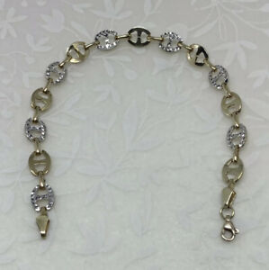 14K Solid Yellow & White Gold GORGEOUS Modern Gucci Mariner Link Anklet