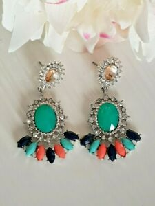 Vintage Silver Turquoise Blue Stone Crystal Dangle Fashion Statement Earrings