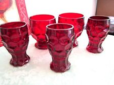 HEISEY/IMPERIAL PROVINCIAL-WHIRLPOOL SET OF 5 RUBY FOOTED GLASSES